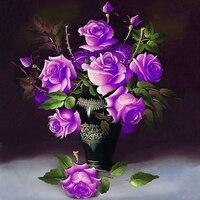 Cuadro completo de diamante diy pintura diamante bordado de diamantes decoración de la habitación de costura púrpura flores florero de violetas imagen rhinestones
