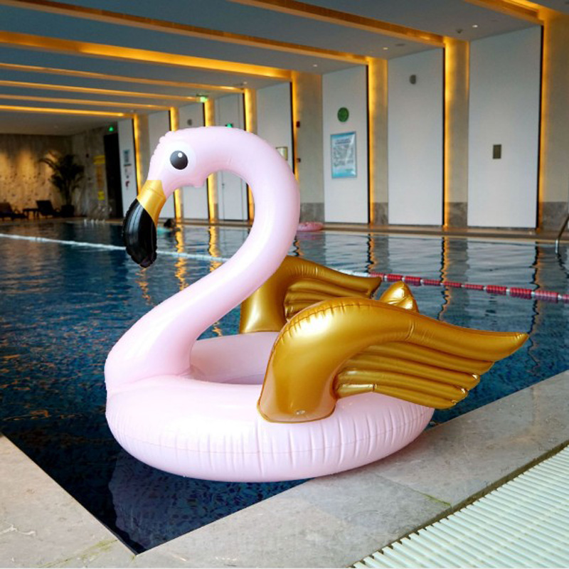Pvc pool float 130cm inflatable pink gold flamingo kids - Swimming pool accessories for adults ...