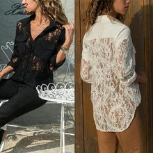 Womens Loose Lace Shirts Tops Hollow Out Long Sleeve Casual Blouse Summer Autumn Women Clothes