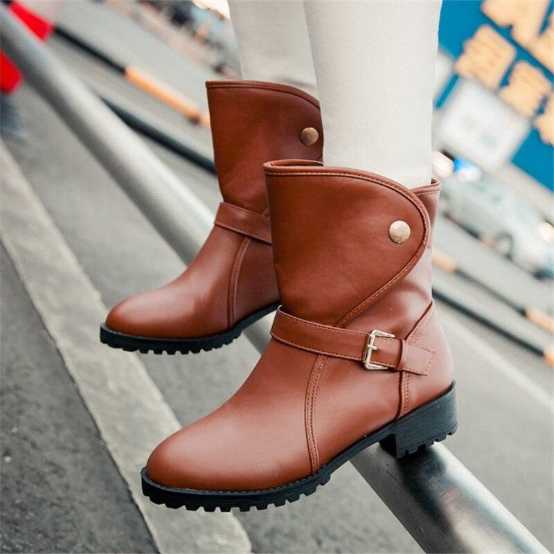 Plus size 34 43 Women fashion Spring Autumn Platform Ankle font b Boots b font Button
