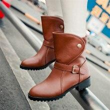 Большие размеры 34–43 Модные женские Демисезонный ботильоны на платформе Кнопка повседневные ковбойские квадратный каблук для верховой езды сапоги-казаки обувь