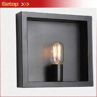 Nueva y creativa lámpara de pared de hierro cuadro artístico marco de fotos Industrial E14 luces dormitorio Sala Bar Lámpara decorativa