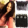 Queen hair productos con haces de cierre de calidad superior indio virginal profunda del pelo rizado de la onda 13x4 encaje frontal y paquetes naturalmente