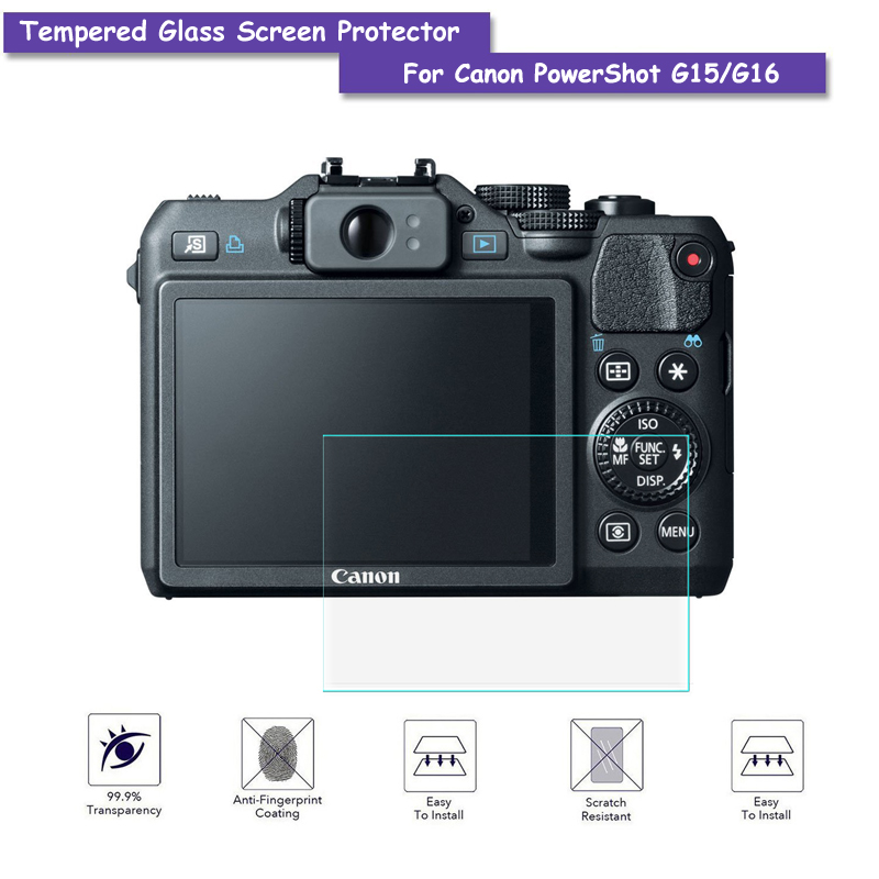 9H Tempered Glass LCD Screen Protector Real Glass Shield Film For Canon PowerShot G15/G1 ...