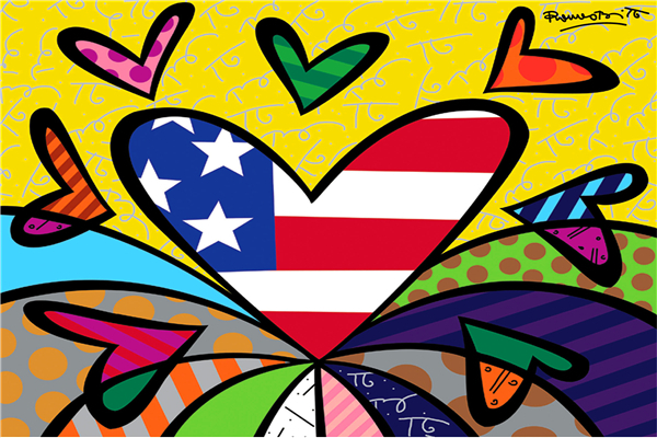 Godspeed Everyone Free Shipping RB Painting Wallpapers Cartoon Heart Flag Custom Canvas Posters Romero Britto Stickers Home Decor #PN#942#