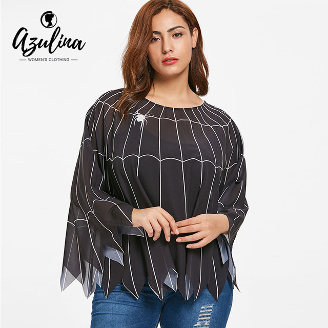 10eee8ee491 AZULINA Halloween Plus Size Spider Web Print Poncho Blouse Women Tops New  Fall Black O Neck Long Sleeve Blouses Shirts Clothing