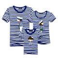 1 pieza Nueva Familia Moda Trajes A Juego Camiseta Para El padre la madre Bebé Familia equipada de manga corta Azul Marino Despojado de La Familia camisa