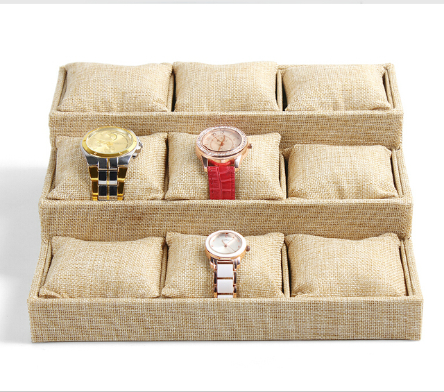 9 Grids/pcs Whole sale High-end Linen Azabu Jewelry Box Bracelet Watch Tray Jewelry Display Stand Holder  Small Pillow Tray