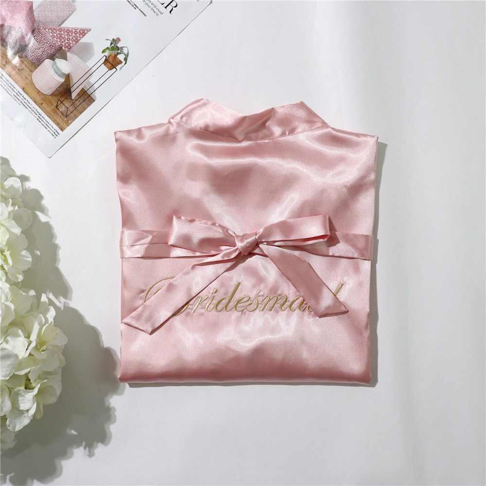 グリーンシルク花嫁介添人花嫁のローブセクシーな女性ショートサテン結婚式の着物ローブパジャマナイトガウンドレスの女性のバスローブパジャマ