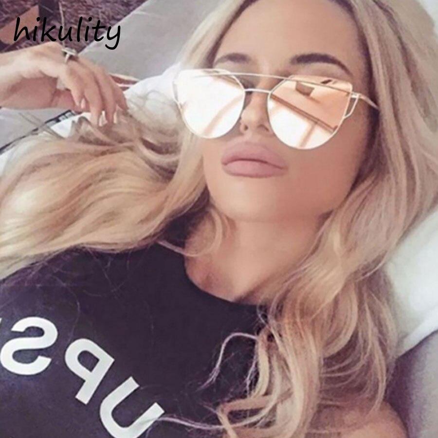 81072 Pink Mirror Sunglasses Women Metal Frame Vintage Ladies Shades UV400 Protection Retro Transparent Sun Glasses Female