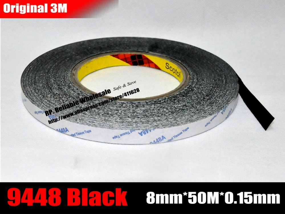 8mm Wide, 50Meters, 3M 9448AB Black Double Sided Adhesive Tape for iPad Phone Tablet Huawei Touch Panel, Screen, LCD 50 meters roll 0 2mm thick 2mm 50mm choose super strong adhesive double sided sticky tape for cellphone tablet case screen