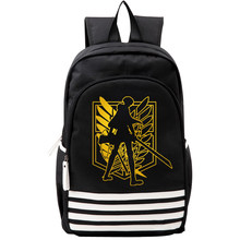 Attack on Titan Black Gold Wings Mens Student Backpack School Bag Teenagers Bookbag Rucksack Travel Bags Purse Back Pack for Boy(China)