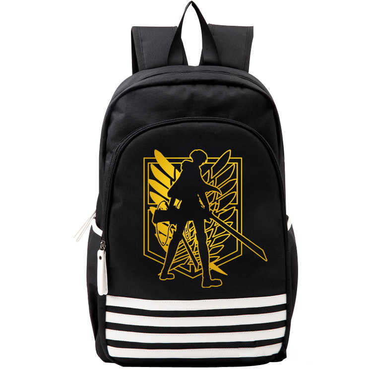 Attack on Titan Black Gold Wings Mens Student Backpack School Bag Teenagers Bookbag Rucksack Travel Bags Purse Back Pack for Boy