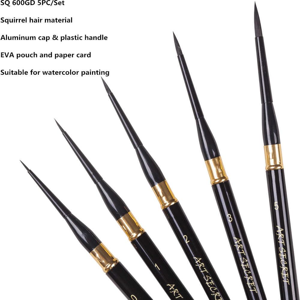 SQ600GD pelo de ardilla de alta calidad pinceles con mango de madera pinceles de Arte Artístico pinceles 5 unid/set para dibujo de acuarela