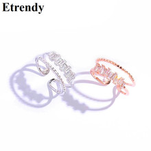 Korean Fashion Rings For Women Rose Gold Color Double Layers Open Ring Jewelry Bijoux Adjustable Gifts