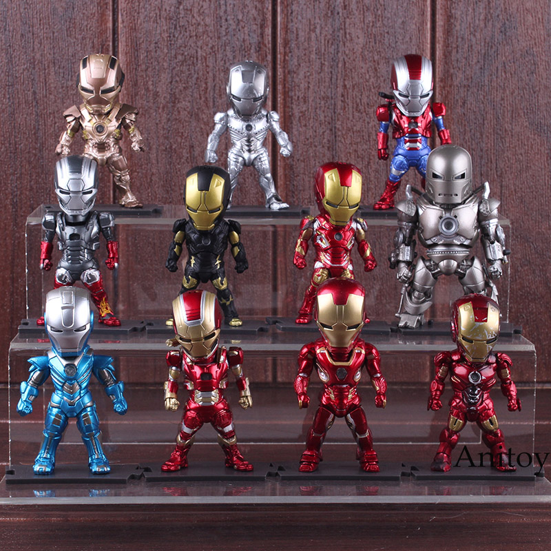 Iron Man Statue Light & Action Function Monger Iron Prtriot MK42 43 22 24 2 PVC Figure Action Collectible Model Toys Set