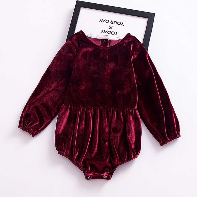 Newborn Baby Girls Flannel Wine Red   Romper   Long Sleeve Neck Button Jumpsuit Outfit Sunsuit Clothing hot