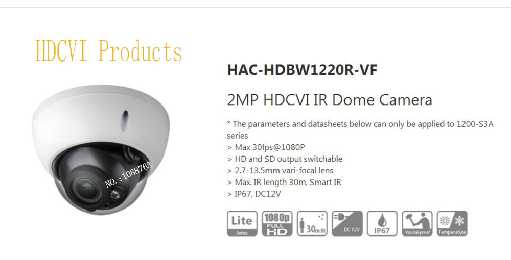 все цены на Free Shipping Original English DAHUA Security Camera CCTV 2MP HDCVI IR Dome Digital Video Camera without Logo HAC-HDBW1220R-VF онлайн