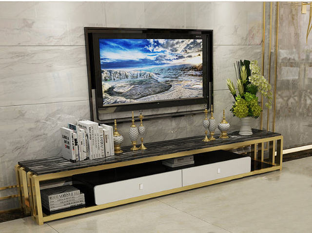 Natural Gl Stainless Steel Tv Stand Modern Living Room Home Furniture Led Monitor Mueble Cabinet Mesa Table