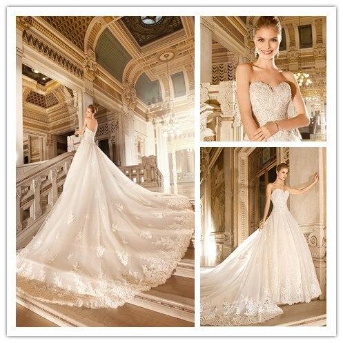 Heißer Verkauf Luxus königlichen Hochzeitskleid eine Linie ...