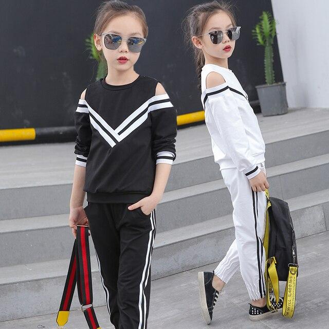 7dfc6d6e4 2017 nowe zestawy ubrań dla dzieci dla dziewczyn sportowe ubrania w stylu  marynarki wojennej dziewczęce stroje