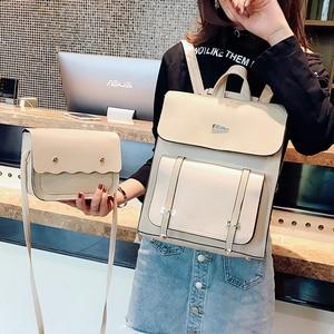 Image 3 - Комплект из двух предметов, женский рюкзак из высококачественной искусственной кожи, Женский школьный рюкзак для девочек подростков, сумка на плечо, 2018
