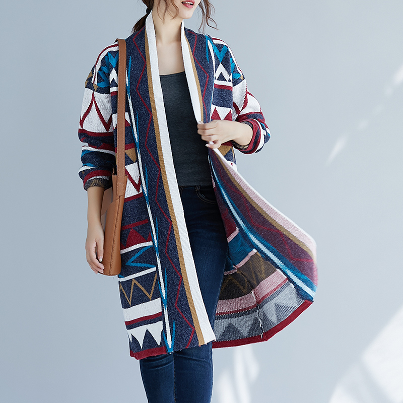 Harajuku Casual Loose Vintage Retro Print Tunic Sweaterdress Knitted Cardigan Long Sweater Thick Warm Women Autumn Jacket