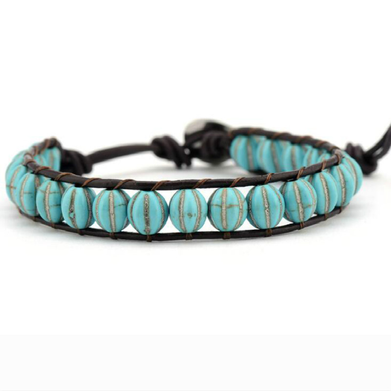 Leather Bracelets Green...