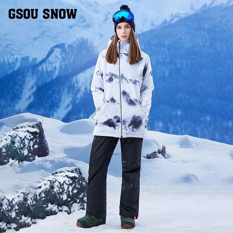 Gsou snow, single board, double board, waterproof, windproof, warm winter, long ski suit, women's suit, adult tide brand