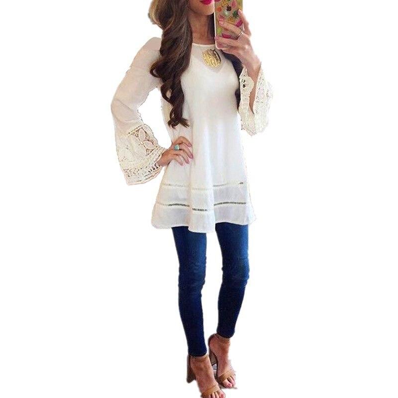 2019 Boho Long Sleeve O-Neck Shirt Fashion Large Size Lace Chiffon Loose Blouse Tops Female Plus Size