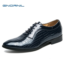 GNORNIL Fashion Design Men Business Shoes New High Quality Casual Leather Non-Slip Blue Lace Up Flat