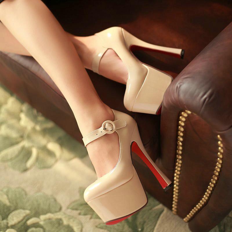 Ultra high heeled Women PU Patent Leather High Heels Evening Party Wedding Bridal Shoes High Platform