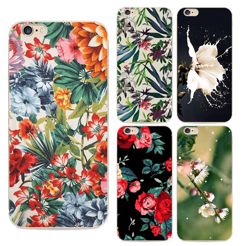 2016 New Top Behind Flowers Phone Case For Apple Iphone 6s Case Ethnic Style painted transparent shell For  Iphone 6 Cases