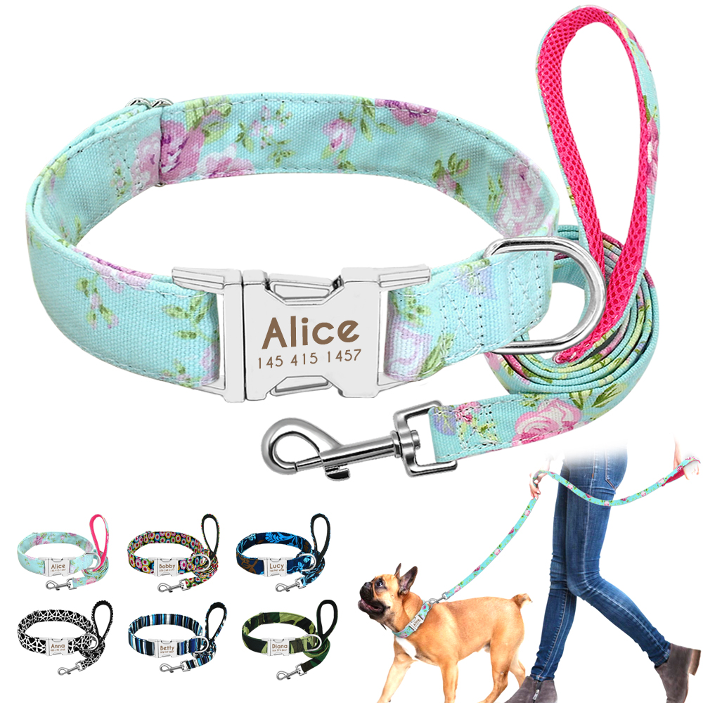 Dog Collar Custom Nylon Puppy Cat Dog Tag Collar Leash Personalized Pet Nameplate ID Collars Adjustable For Medium Large Dogs 1