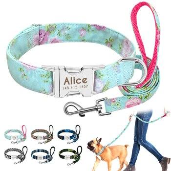 Collar de Nylon personalizado para perros, perro, perro, etiqueta, correa, identificación personalizada para mascotas, collares ajustables para perros medianos y grandes