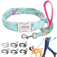 Dog Collar Custom Nylon Puppy Cat Dog Tag Collar Leash Personalized Pet Nameplate ID Collars Adjustable For Medium Large Dogs(China)