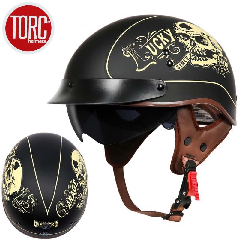 TORC T55 casco moto d'epoca casco Harley retro scooter mezzo casco con interno visor lente casco moto DOT capacete