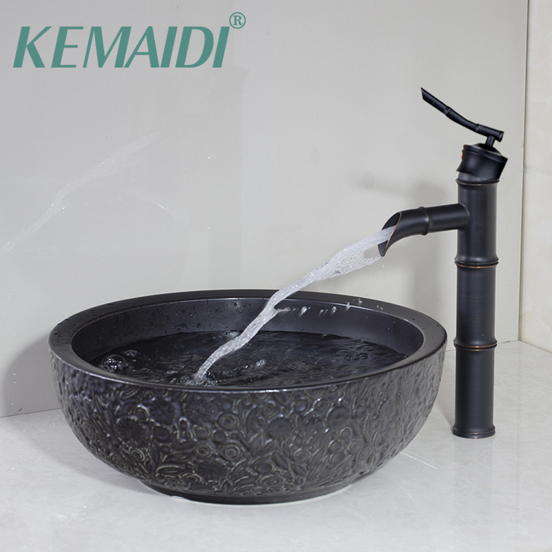 KEMAIDI flora Ceramic Basin Sink Washbasin Counter top Washroom Vessel Vanity Sink Bathroom Mixer ORB Faucet Set