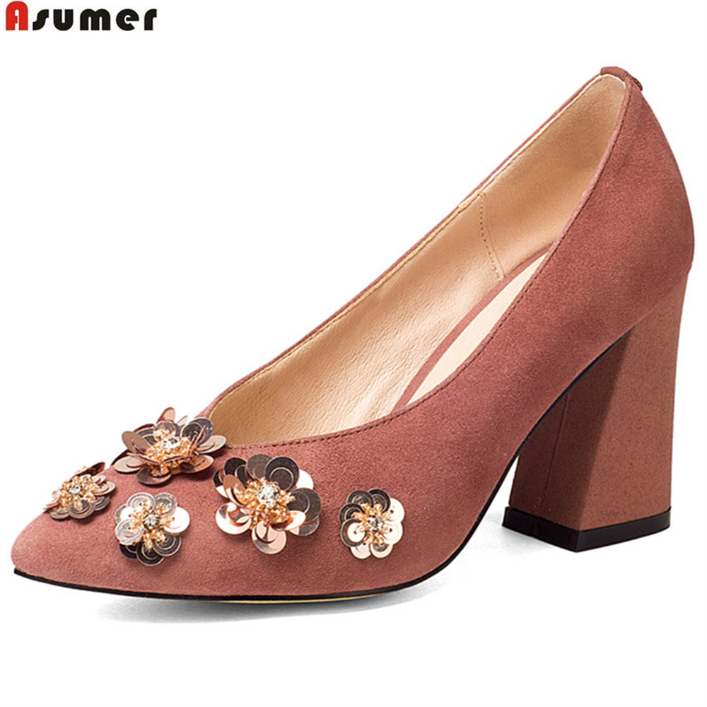 ASUMER pink black fashion pointed toe spring autumn pumps shoes square heel wedding shoes women suede leather high heels shoes xiaying smile new spring autumn women pumps british style fashion casual lace shoes square heel pointed toe canvas rubber shoes