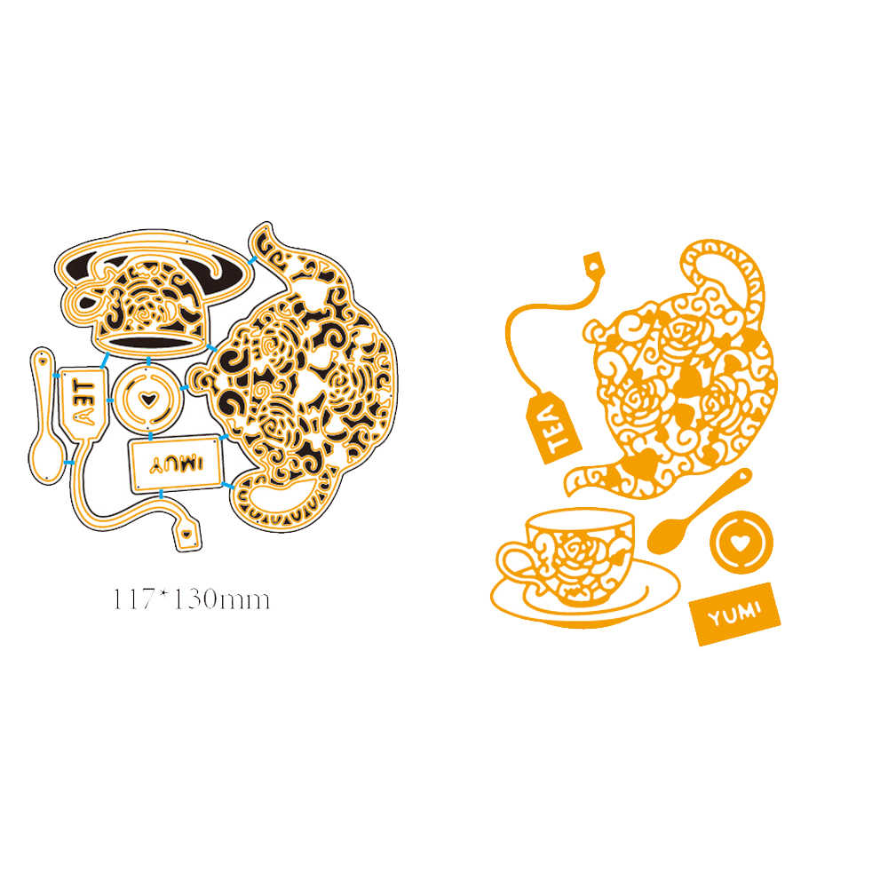 11.7X13CM Teapot Coffee Cup Frame Metal Cutting Dies Scrapbooking Craft Dies Cuts Scrapbook for DIY Paper Album Card Decorations