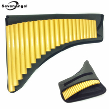 22 Pipe ABS plastic Panpipe G Key Panflute Handmade woodwind  Musical Instruments golden color Pan flute with bag free shipping