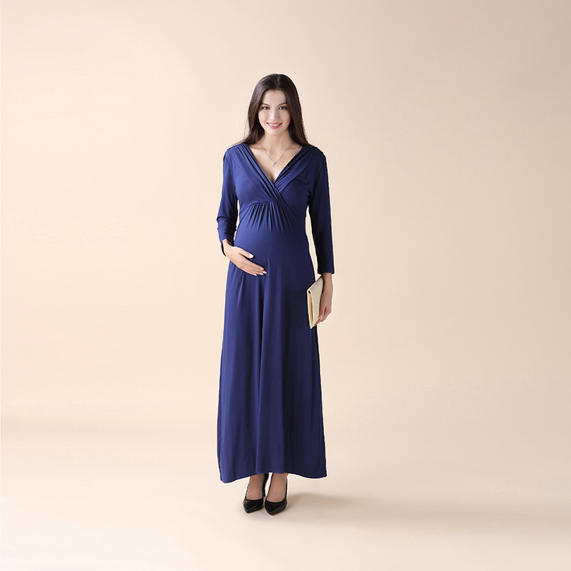 New Summer Maternity Dresses Long V-Neck Noble Prom Party Gowns Evening Vestidos For Pregnant Dresses Pregnancy Clothing