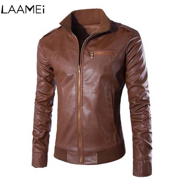 Laamei Men's Washed Faux Leathers Motorcycle Men Jacket Coat Men's Leather Jacket Fashion Autumn Winter Male Faux Leather coats