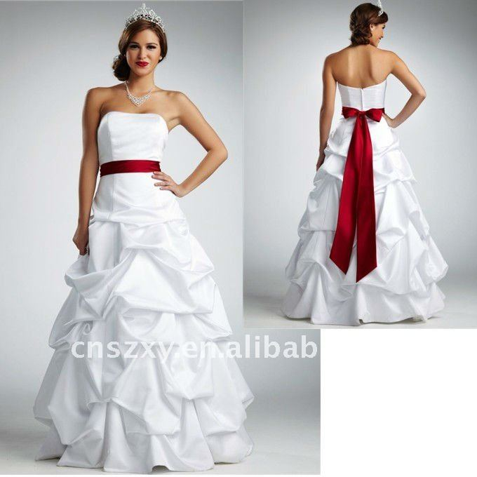 2011 Strapless Hot Sell Satin Beautiful Colorful Red Sash