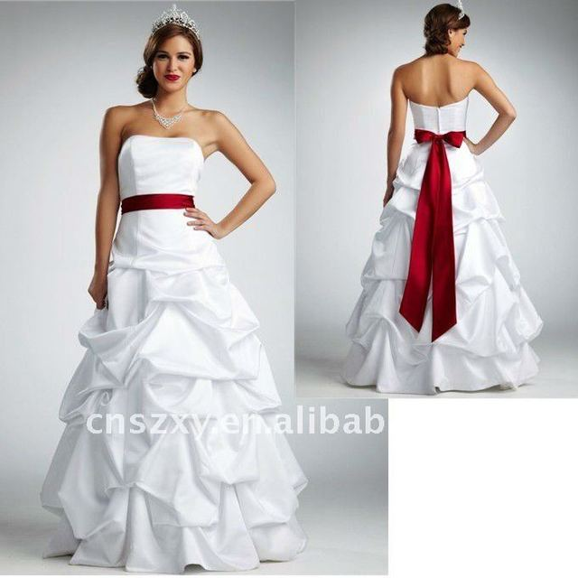 2011 Strapless Hot Sell Satin Beautiful Colorful Red Sash Wedding ...