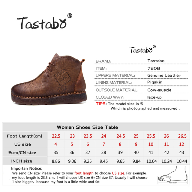 Tastabo Women Retro Boots Handmade Ankle Flat Boots Genuine Leather Shoes