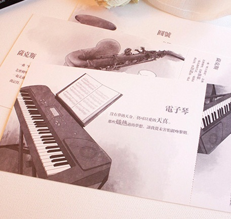 Hot selling Business cards 60pcs/DIY retro Musical Instruments postcard set. greeting card
