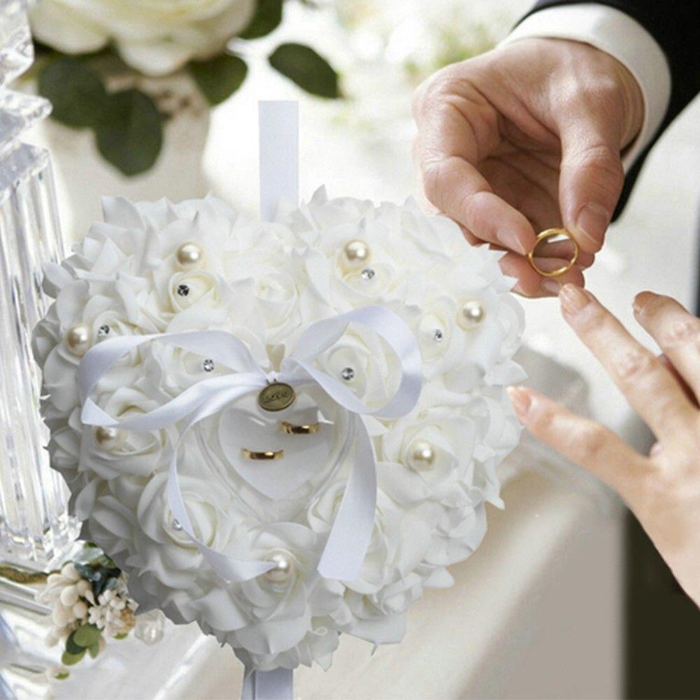 1 Pc Herz Form Ring Kissen Rose Blumen Schmuck Fall Kissen Favor Ring Box Simulation Hochzeit Party Decor Valentinstag Geschenk Produkte Werden Ohne EinschräNkungen Verkauft