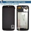 1 unids original lcd de repuesto de calidad para acer liquid jade s55 lcd display panel digitalizador marco negro envío gratis + herramientas