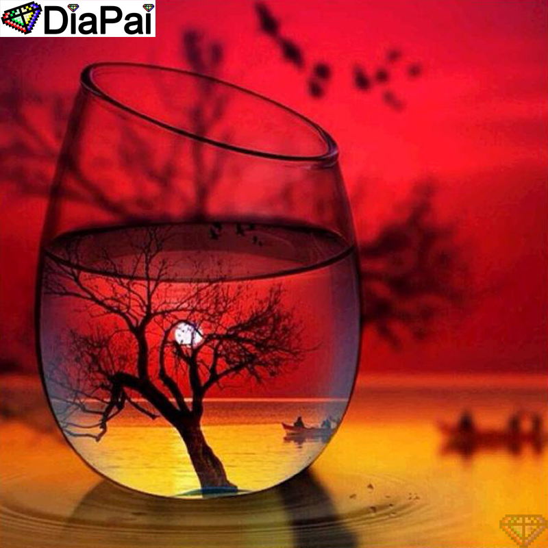 DiaPai 5D DIY Diamond Painting 100 Full Square Round Drill quot Cup sunset quot Diamond Embroidery Cross Stitch 3D Decor A21707 in Diamond Painting Cross Stitch from Home amp Garden
